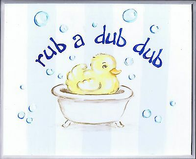The Kids Room by Stupell Rub-a-dub-dub Duck in a Tub Rectangle Wall Plaque New