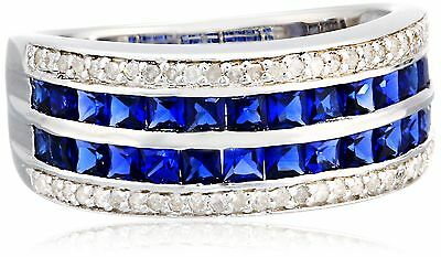 Sterling Silver Created Sapphire and Diamond (0.20 cttw I-J Color I3 Clar... New