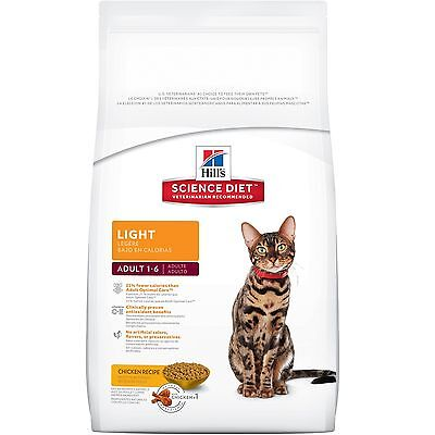 Hill's Science Diet Adult Light Dry Cat Food 4-Pound Bag New