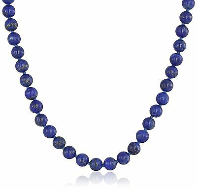 Sterling Silver 6mm Lapis Lazuli Necklace 17 New