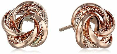 14k Love Knot Stud Earrings Rose Gold New