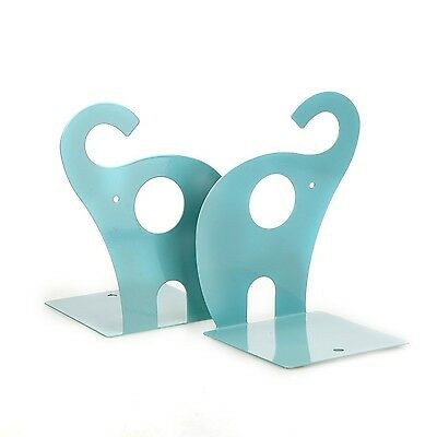 FOME 1pair Cute Elephant Nonskid Bookends Art Bookend+FOME GIFT Blue New