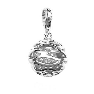 Fine Sterling Silver Ball Charm Pendant with Cubic Zirconia Rhodium Finis... New