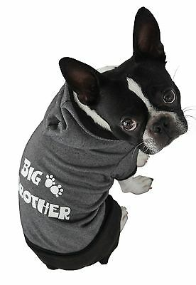Ruff Ruff and Meow Small Dog Hoodie Big Brother Black New