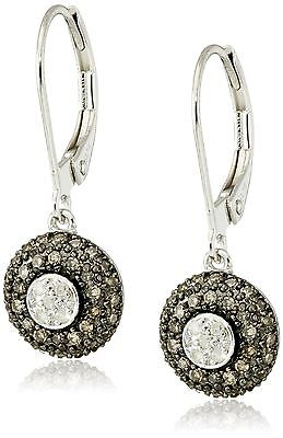 Sterling Silver Brown and White Diamond Earrings (1/3 cttw I-J Color I2-I... New