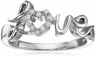 """Sterling Silver Diamond """"Love"""" Ring (1/10 cttw I-J Color I2-I3 Clarity) 6 New"""