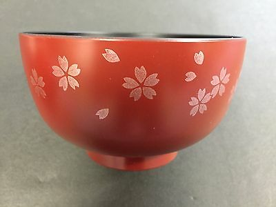 New Sakura Cherry Blossoms Miso Soup Bowl Red MADE IN JAPAN