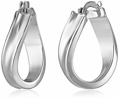 14k White Gold Wavy Hoop Earrings New