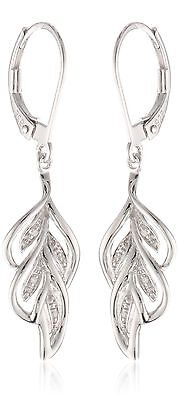 Sterling Silver Leaf Diamond Earrings (0.02 cttw I-J Color I2-I3 Clarity) New