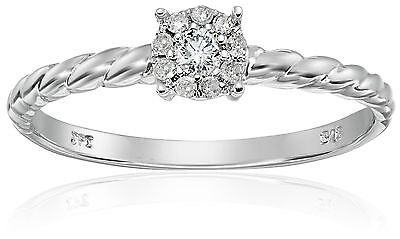 Sterling Silver Rope Cluster-Diamond Ring (1/10 cttw I-J Color I2-I3 Clar... New