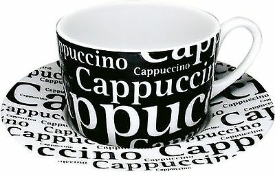 Konitzs 7-Ounce Writing on Black Cappuccino Cups and Saucers Black/White ... New