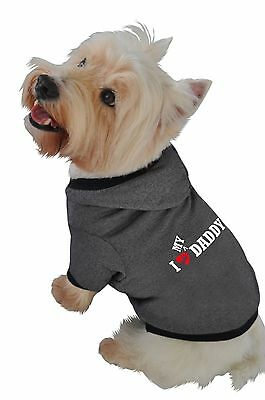 Ruff Ruff and Meow Small Dog Hoodie I Love My Daddy Black New
