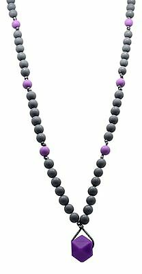 "Silicone Teething Nursing Necklace. Kiddles""Mala"" (Grey/Purple) Toxin Fre... New"