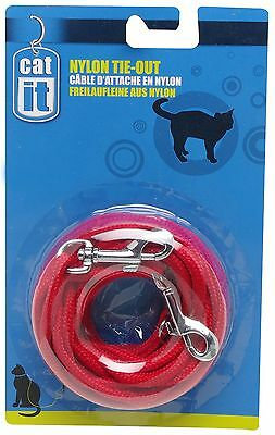 Catit Nylon Cat Tie-out 10-Feet Red New