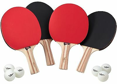 Viper Table Tennis Accessory Set 4 Rackets/Paddles and 6 Balls New