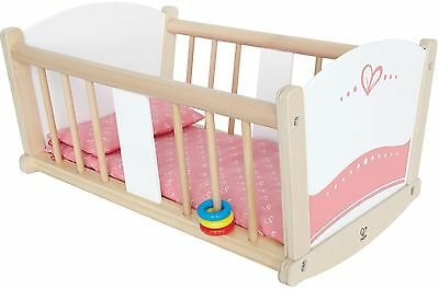 Hape Babydoll Wooden Rock-a-Bye Cradle with Accessories New