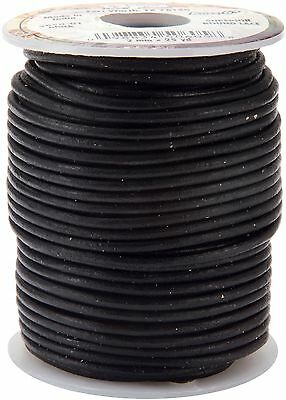 Leather Factory Round Leather Lace 2-Millimeter 25-Yard Spool Black New