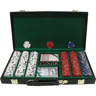 Trademark Poker 300 Chip Pro Clay Casino Chips with Deluxe Case Black 13gm New