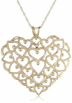 "Klassics 10k Yellow Gold Polished Heart Pendant Necklace 18"" New"