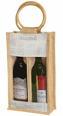 Natural Color Jute Burlap 2 Bottle Wine Carry Bag with front window and w... New