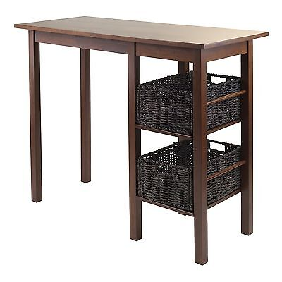 Winsome Wood Egan 3-Piece Breakfast Table with 2 Baskets Set New