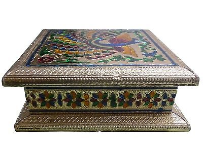 Indiabigshop Full Meenakari work Golden 6X6inch Dryfruit Box New