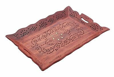 Handmade Wooden Snack or Coffee Serving Tray (15 X10 Inches) With Inlay F... New