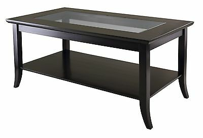Winsome Wood Genoa Rectanuglar Coffee Table with Glass Top and Shelf New