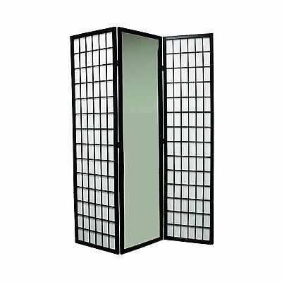 Ore International 3-Panel Black Finish Mirror Room Divider New