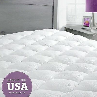 Extra Plush Quilted Bamboo Mattress Topper Pad -- Revoloft Filled Queen W... New
