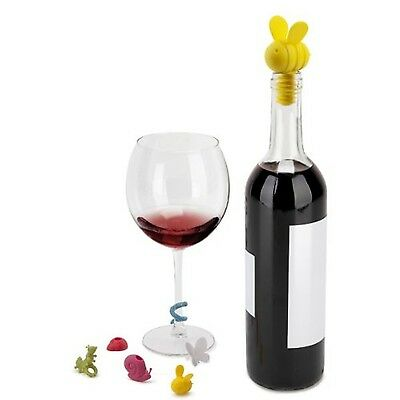 Umbra 7-Piece Critters Wine Bottle Stopper and Glass Markers Set New