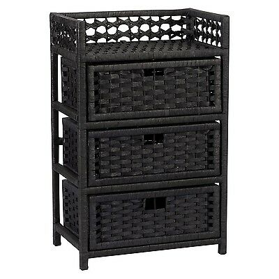 Household Essentials Hand-Woven Paper Rope 3-Drawer Chest Black Stain New