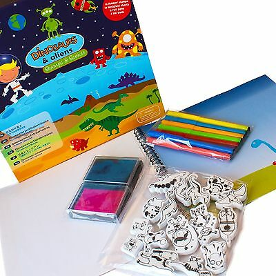 Meadow Kids Dinosaurs and Aliens-Stamps and Scene New