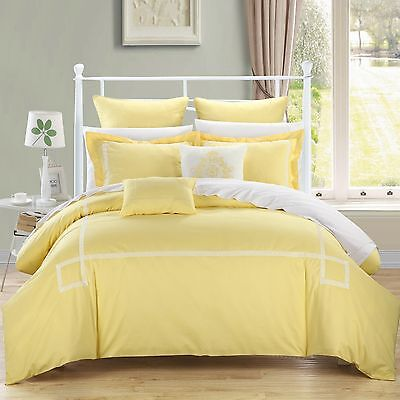 Chic Home Woodford 7-Piece Embroidered Comforter Set Queen Yellow New