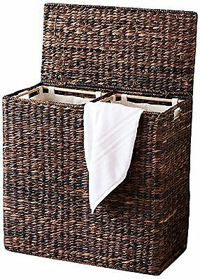 BirdRock Home Oversized Divided Hamper with Liners (Espresso) | Made of N... New