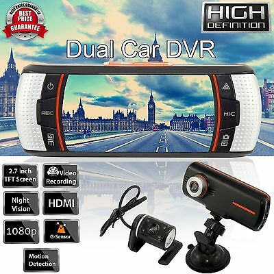 "2.7"" Dual Lens Car DVR Camera Vehicle 720P HD Dash Cam Night Vision Recorder"