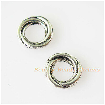 30 New Tiny Round Circle Charms Tibetan Silver Tone Spacer Beads 8mm