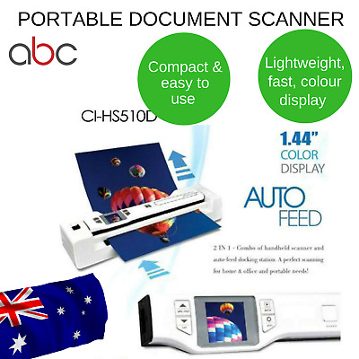 Portable Document Scanner Digitalk & Photo 2 In 1 Combo Auto Feed Dock Handy