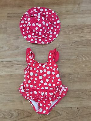 Sprout Baby Girl Swimming Costume with Sun Hat Polka Dot Red Swimware Size 0