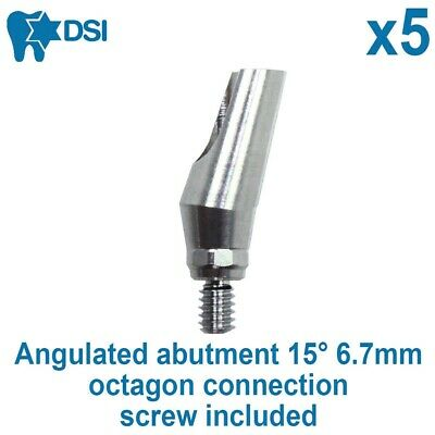 5x Dental Implant Angulated Abutment 15° For Straumann Octagon Connection 6.7mm