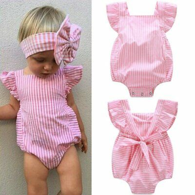 Kids Baby Girls Cotton Striped Printed Romper Newborn Jumpsuit Clothes Outfits
