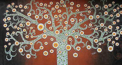 Tree Art Painting Forest Flower Abstract Canvas Dot Aboriginal Australia