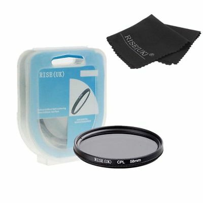 RISE(UK) 58mm Polarizing CPL Fiter for Canon Rebel 18-55mm +CASE + Cloth