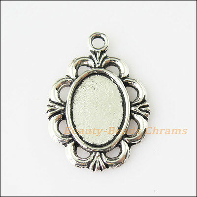 6 New Oval Flower Picture Frame Tibetan Silver Tone Charms 18.5x26.5mm
