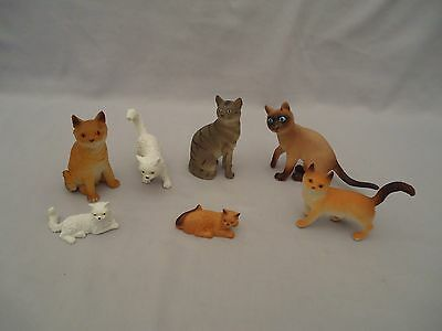 Group Lot 7 vinyl Animal Figurine Toys CATS Various Breeds Colors