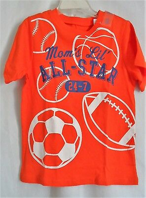 Boys 5T 5 Orange Mom's Lil All Star Sports S/s Shirt Nwt ~ The Children's Place