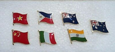 1x New Country Flags Gold Plated Enamel Pins Australia Day Badge Lapel Souvenir