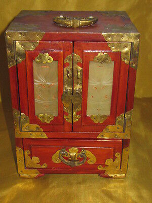 Vintage Chinese Wooden Jade Jewellery Box