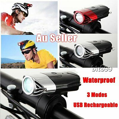 USB Rechargeable Cycling Bicycle Bike Front Head Light LED Waterproof 3 Modes AZ