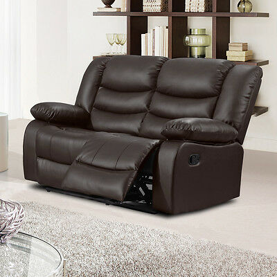 2 Seater Bonded Leather Manual Action Brown Recliner Sofa CLEARANCE / BRAND NEW